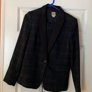 Two piece navy and green plaid wool suit.